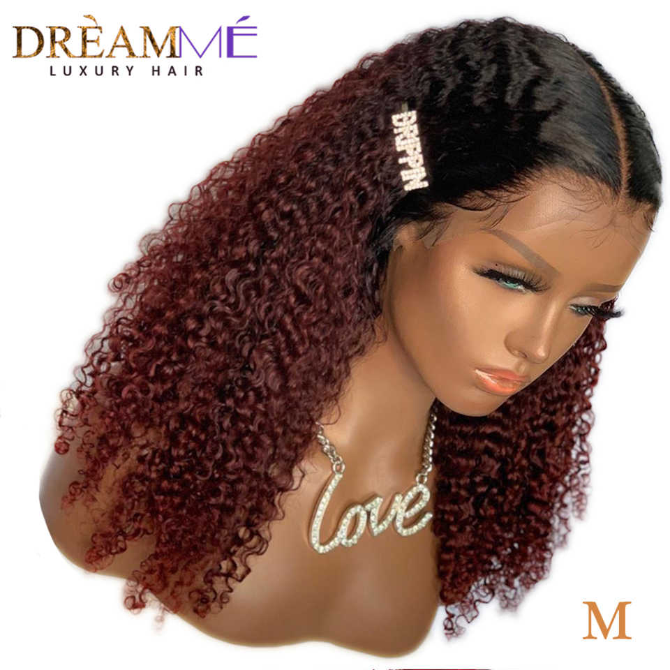 Ombre Human Hair Kinky Curly Wig Pre Plucked 13X6 Deep Part Lace Front Wig Remy Brazilian 1B/99 Red Short Wig 150% Density M