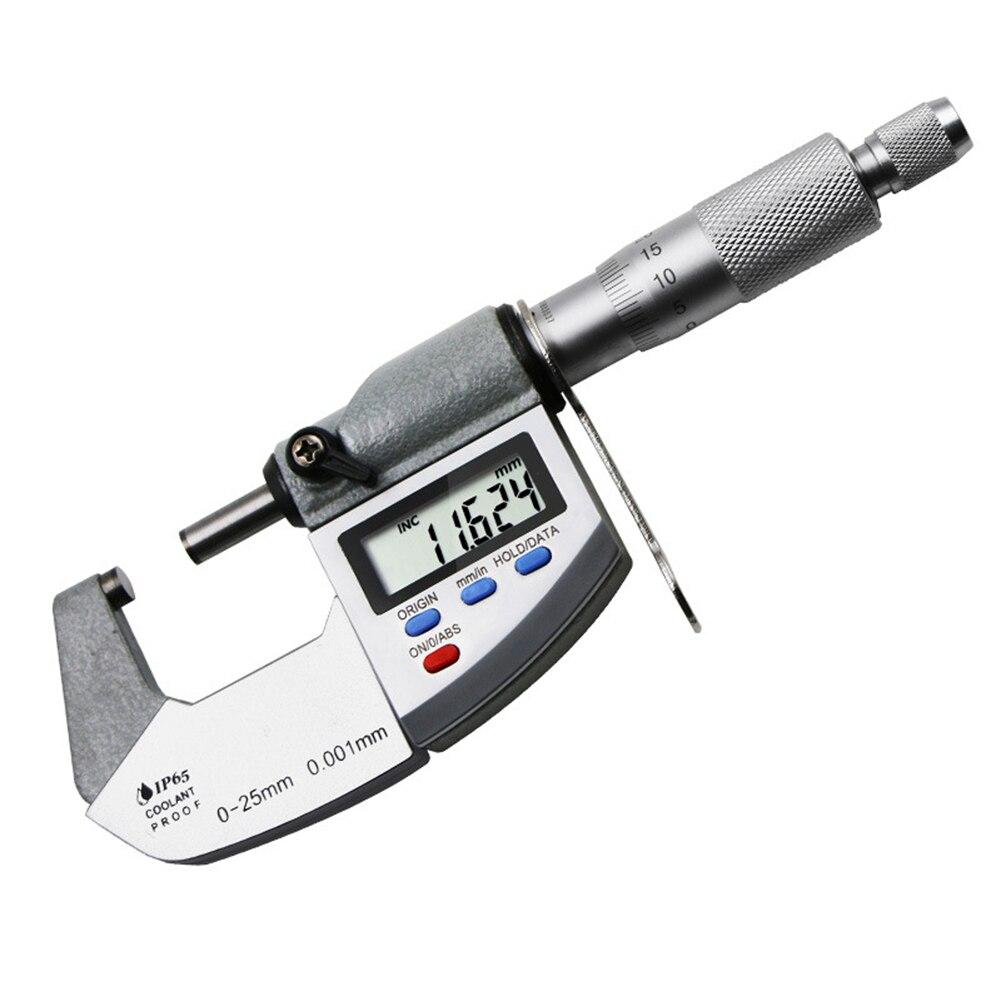 Aletler'ten Mikrometreler'de 0 25mm Spiral mikrometre ölçüm aracı dijital ekran dış çap mikrometre su geçirmez anti statik kalınlık ölçer S30