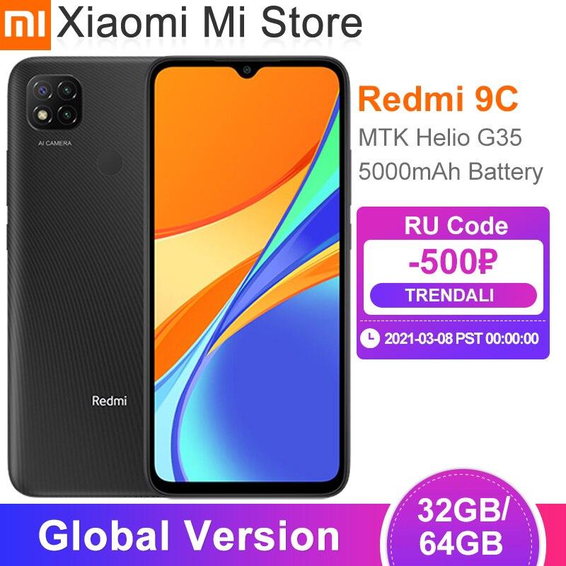 Глобальная версия Xiaomi Redmi 9C мобильный телефон 2 Гб оперативной памяти, 32 Гб встроенной памяти, Процессор MTK Helio G35 6,53