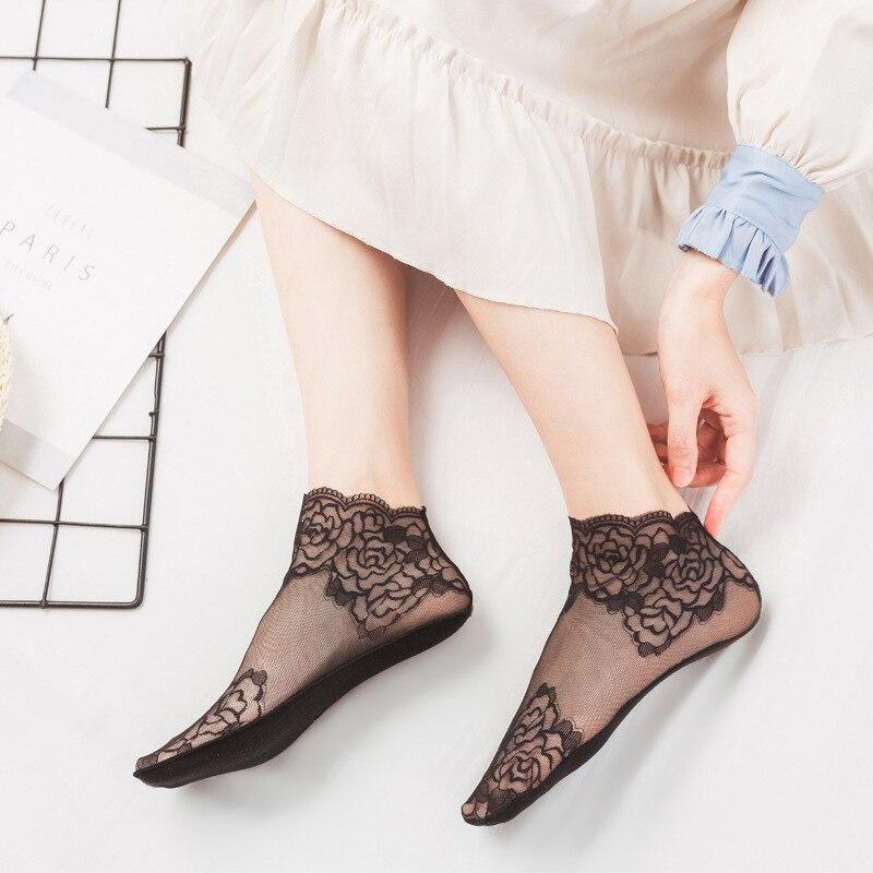 3 Pairs frauen Spitze Atmungsaktive Ankle Socken Weiche Bequeme Elastische Damen Mode Socke Antiskid Sexy Perspektive Weibliche
