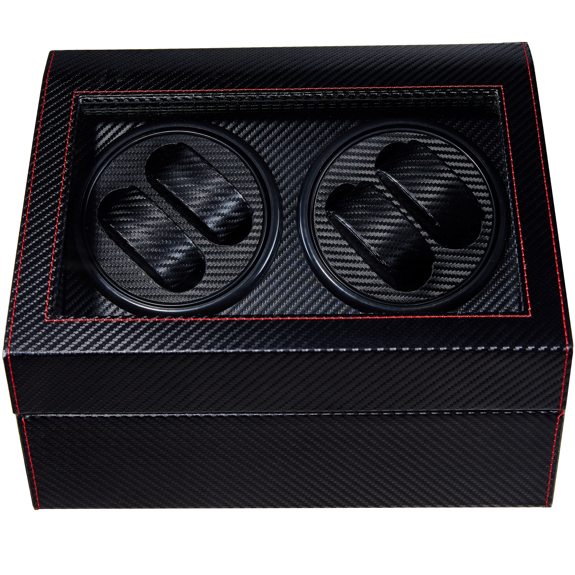 Black Stripe Automatic Watch Winder Box PU Leather Watch Winding Box Collection Display Double Head Silent Motor Box