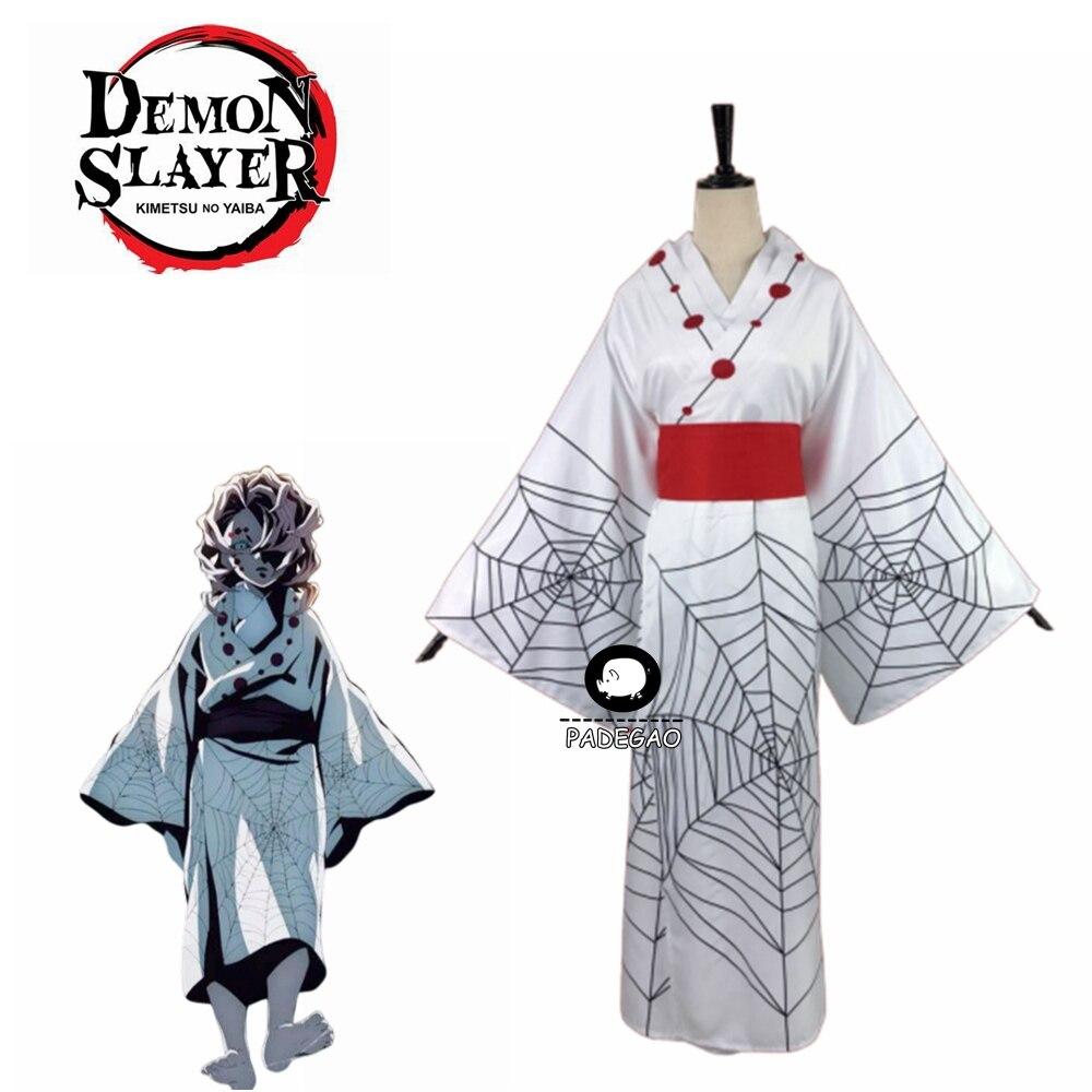 2019 Hot Anime Demon Slayer Kimetsu No Yaiba Spider Oni Ayaki Rui Cosplay Costume Men's Kimono Full Set Halloween Party Outfit