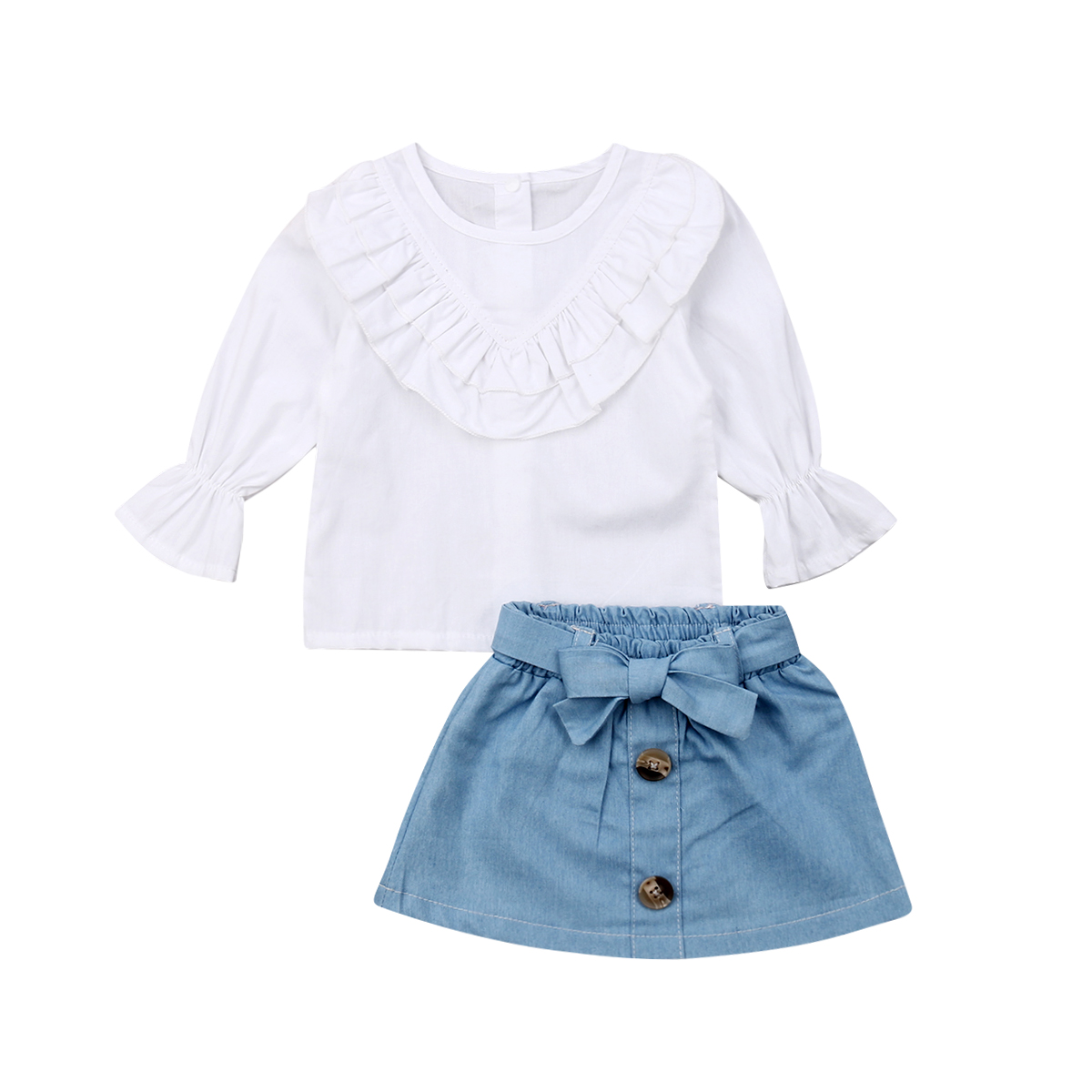2PCS Toddler Kids Baby Girl Summer Clothes Plaid Tops+Denim Skirt Dres Outfits