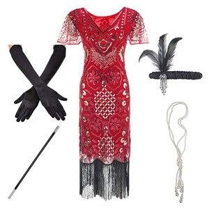 Image 5 - 1920sフラッパー轟音プラスサイズ20sグレートギャツビーフリンジスパンコールビーズドレスと修飾語アールデコ調のドレスアクセサリーxxxl