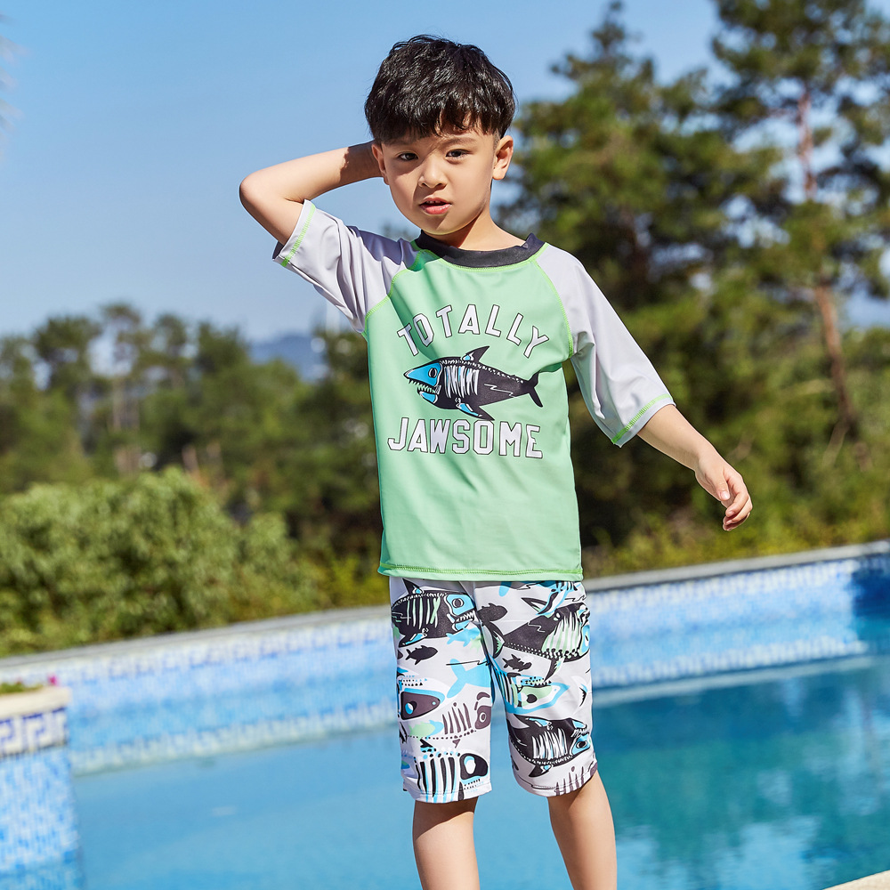 2019 Children Split Type Swimsuit Male Baby Bubble Hot Spring Swimsuit For Boys Handsome Cute Sports Olive Flower 1047