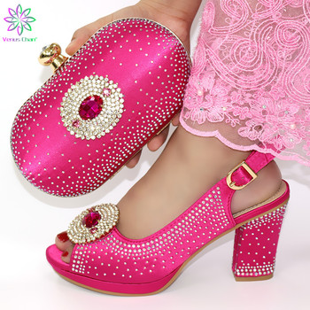 Fuchsia Casual Low Pumps African Short Heels Women Shoes and Bag For Party Fashion Comfortable Italian Shoes With Matching Bag