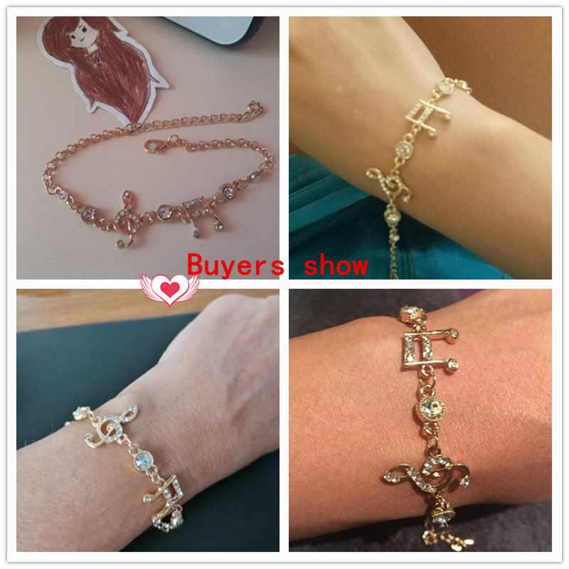 MISANANRYNE תכשיטי יוקרה מתנות זהב צבע מוסיקלי הערות צמיד גביש זירקון צמיד נשים תכשיטים