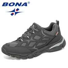 BONA 2019 New Designers Cow Split Mesh Mens Running Shoes Low Top Sports Students Training Sneakers Man Jogging Sports Shoes