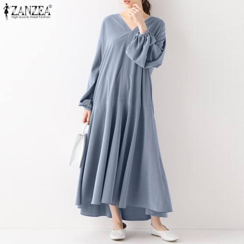 Женский весенний сарафан ZANZEA большого размера 2021 Платья-макси с пышными рукавами элегантные платья с V-образным вырезом женское Повседневн...