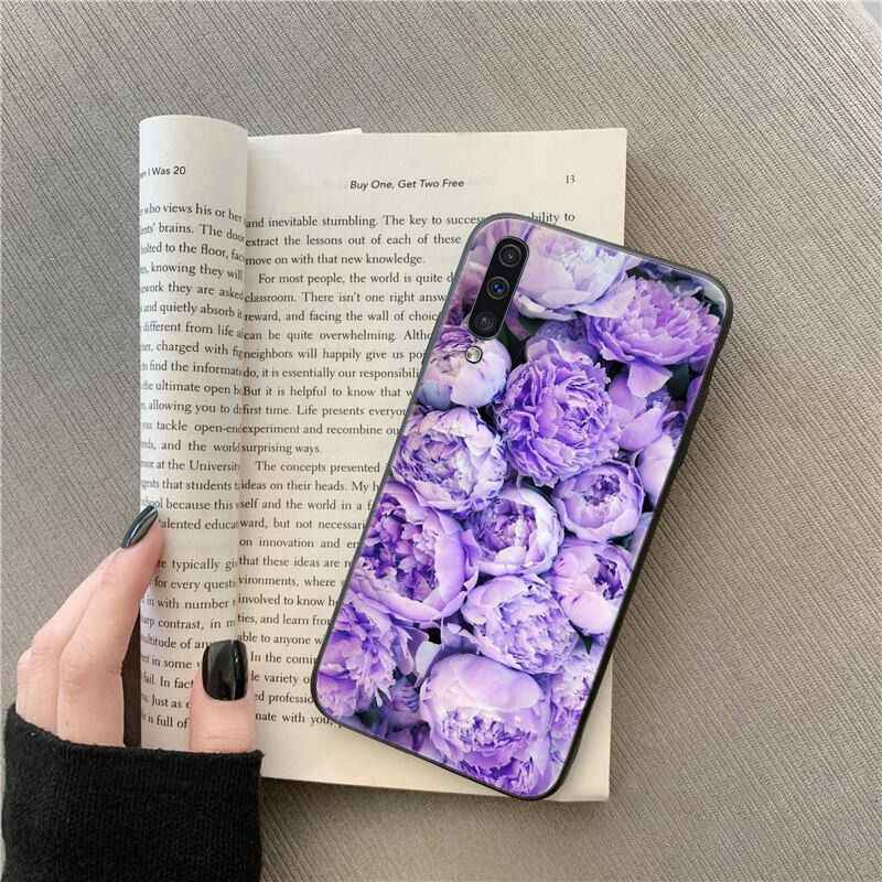 Yinuoda Elegant สีชมพูสีม่วง Peony ดอกไม้แจกันสำหรับ Samsung Galaxy A7 A50 A70 A40 A20 A30 a8 A6 A8 PLUS A9 2018