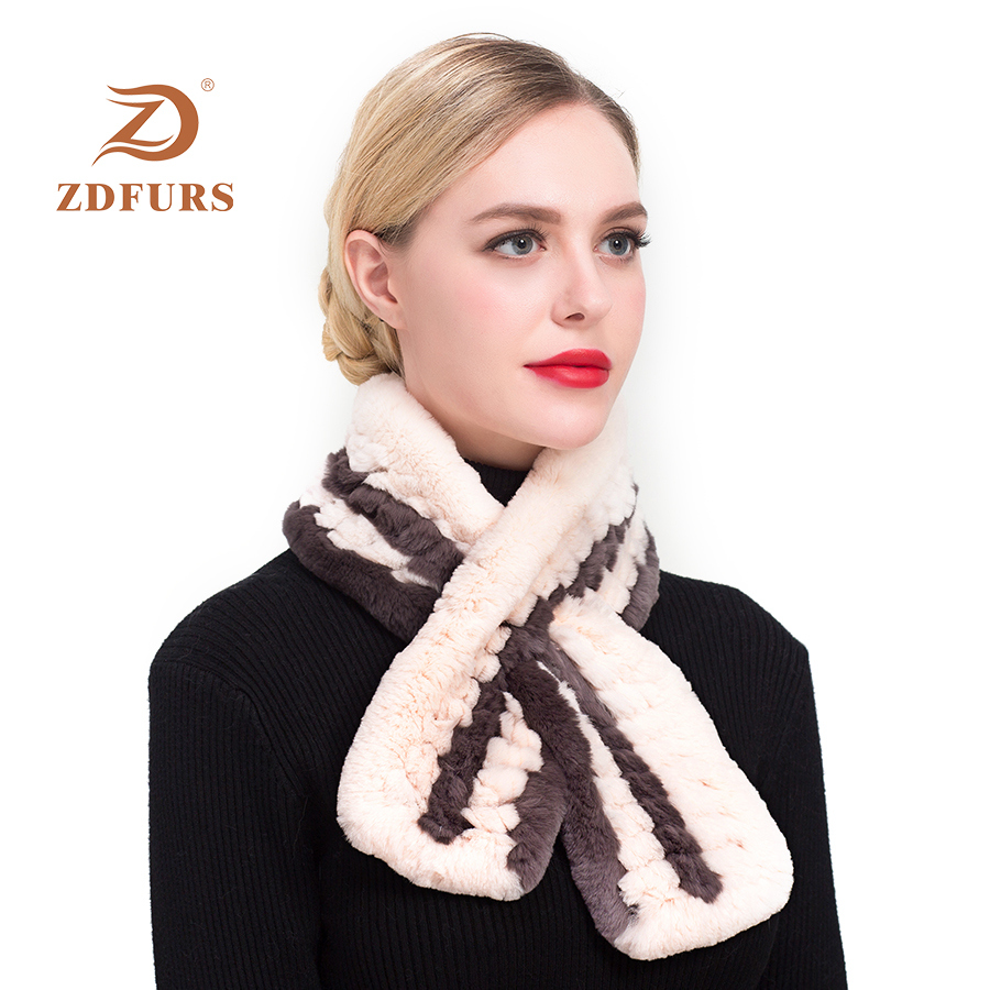 ZDFURS*Unisex Rex Rabbit Fur Scarf Collar Knit Scarves Women Fur Scarf Real Rabbit Fur Shawl Scarf Short Style Women Neck Warmer