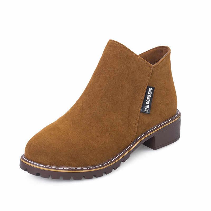 LZJ yeni kadın Martin çizmeler sonbahar kış çizmeler klasik fermuar kar yarım çizmeler kış süet sıcak kürk peluş kadın ayakkabı 35 -42
