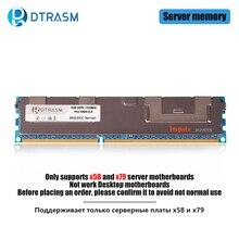 Dtrasme DDR3 4GB 8GB 16GB REG ECC serveur mémoire 1333MHz 1600MHz 1866MHz dimm REG ram prend en charge la carte mère X58 X79
