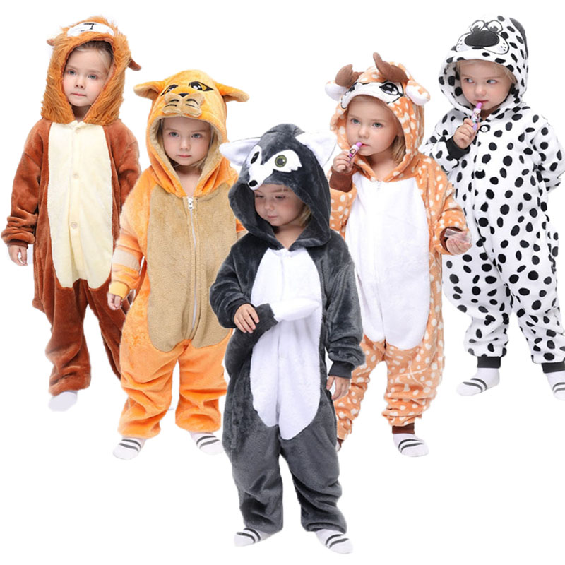 Kids Onsie Pajamas Children Kigurumi New Cartoon Animals Pijama Boys Girls Flannel Soft Pajama Halloween Cosplay Hooded Sleepers