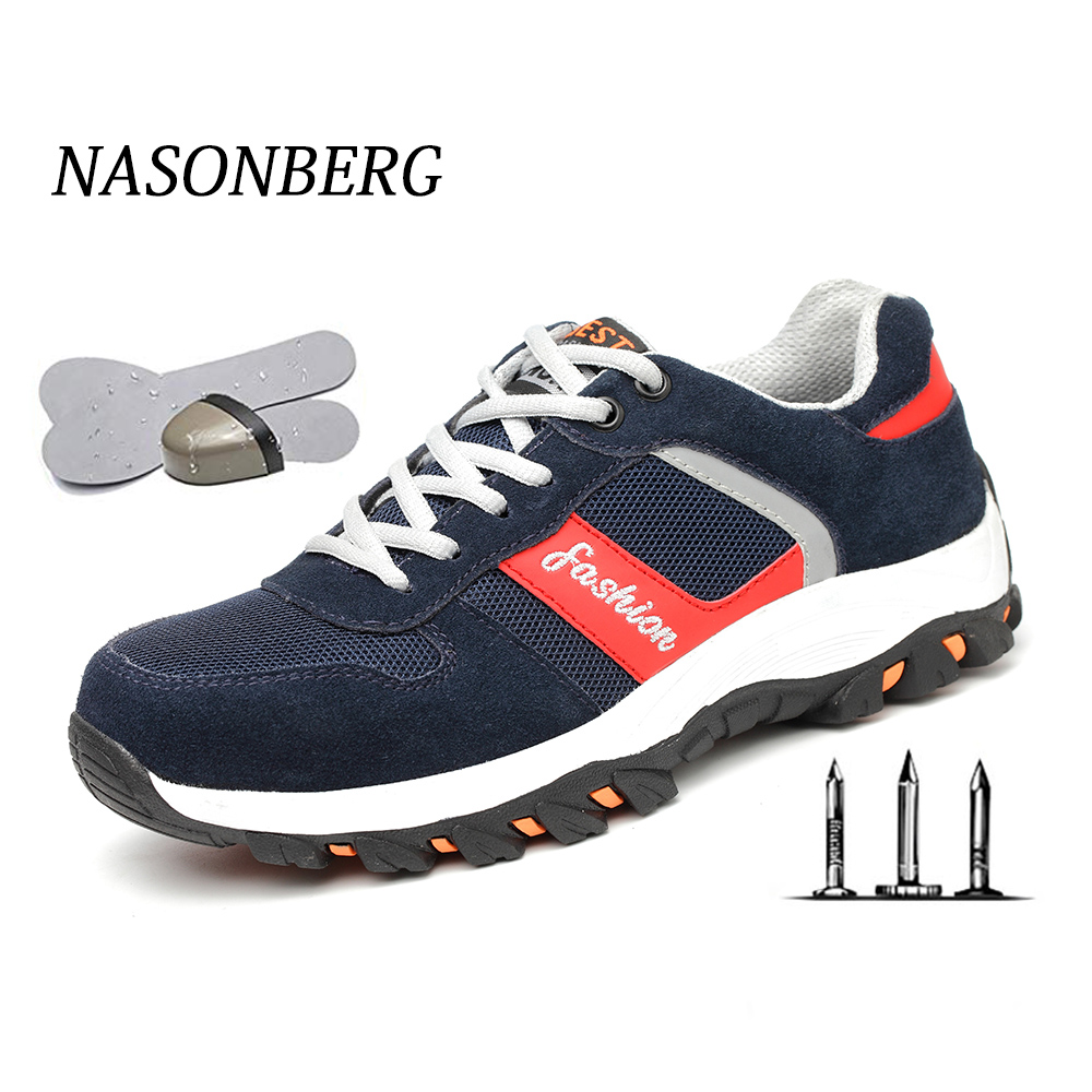 NASONBERG Breathable Men Shoes Steel Toe Boots Puncture Proof Work Safety Shoes Outdoor Boots Men Safety Shoes Indestructible