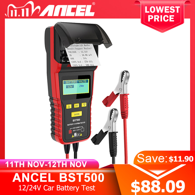 Ancel BST500 12V 24V Car Battery Tester With Thermal Printer Car Heavy Duty Truck Battery Analyzer Battery Test Diagnostic Tool