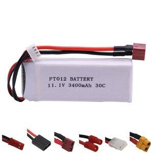 11.1 V 3400mah bateria Lipo dla Feilun FT012 Huanqi 734 zabawki zdalnie sterowane części śmigłowca łodzi 11.1 V bateria lipo T/JST/XT60/L6.2-2P wtyczka