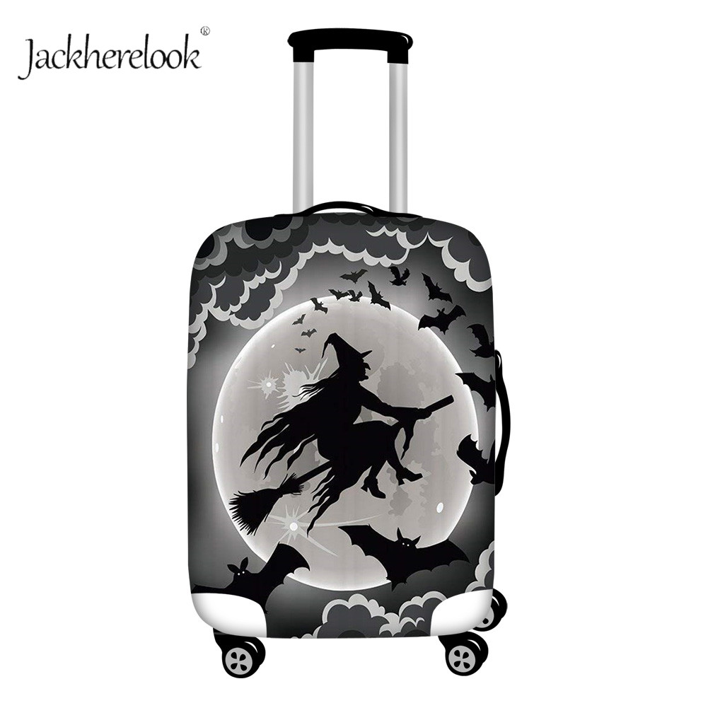 Jackherelook Witch Castle Print Luggage Bag Cover Elastic Halloween Scary Travel Suitcase Bag Thicken Baggage Case Protect Cover