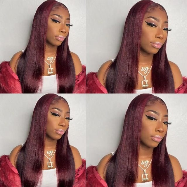 Peruvian Straight Hair 13X1 Lace Front Wig Human Hair Wigs 99J Red Burgundy Pre-Plucked 180% Remy Human Hair Deep Part Wigs 3