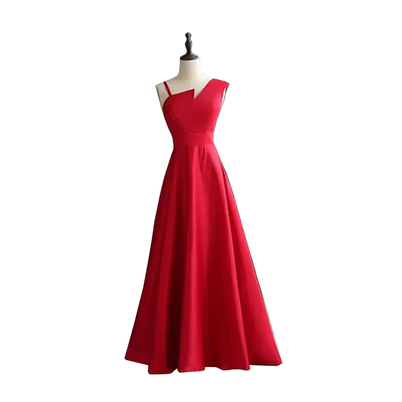 Irregular Neck Prom Dresses 2019 Satin Long Dress For Party Lace Up Back Floor Length A-line Formal Evening Gown Robe De Soiree