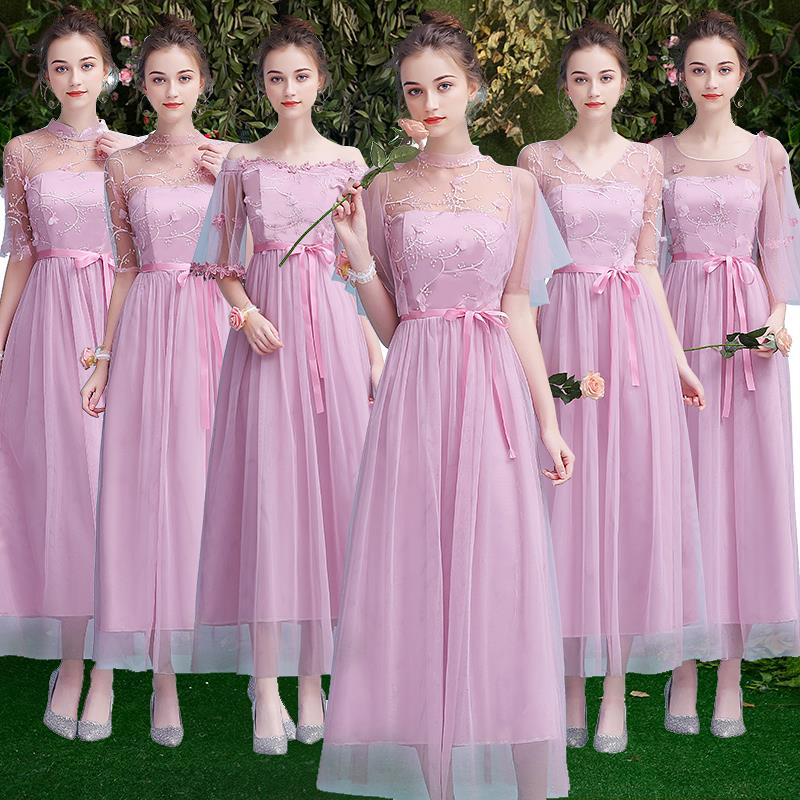 Wedding Party Elegant Long Dress Bridesmaid Short Sleeve Tulle Thin A-Line Graduation Long Simple Princess Eve Prom Dresses