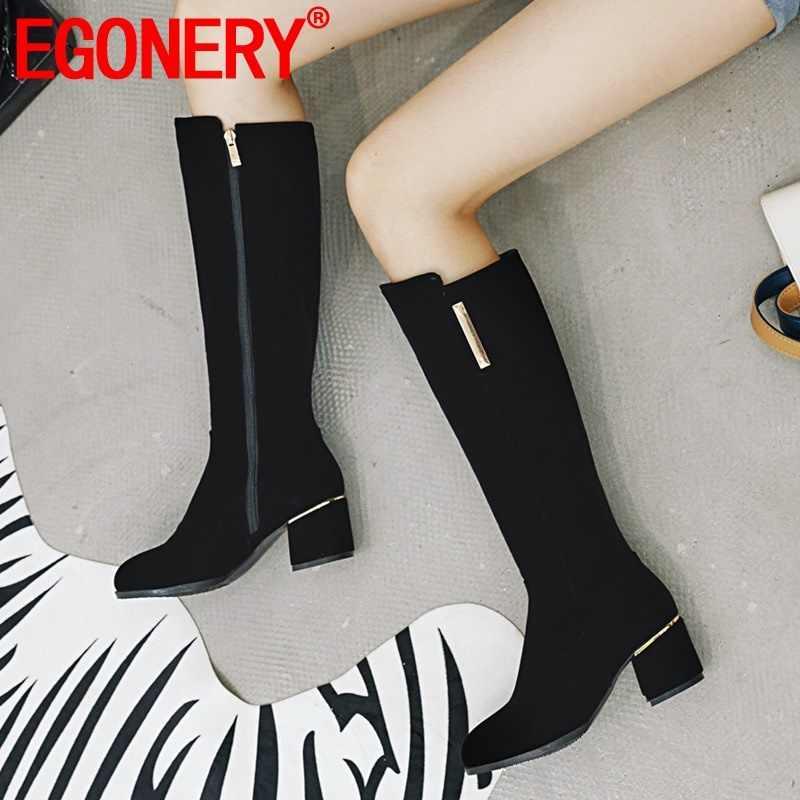 EGONERY winter neueste concise flock kniehohe stiefel außerhalb runde kappe high heels zip plus größe schwarz frauen schuhe drop verschiffen