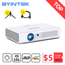 BYINTEK R19 300 cala Full HD 1080P 3D 4K Smart Wifi Android gra LED DLP lAsEr przenośny Mini projektor do telefonu komórkowego Tablet tanie tanio Korekcja ręczna Automatyczna korekcja CN (pochodzenie) Projektor cyfrowy 16 09 Focus 700 ANSI lumens 1280x800 dpi 700ANSI lumens