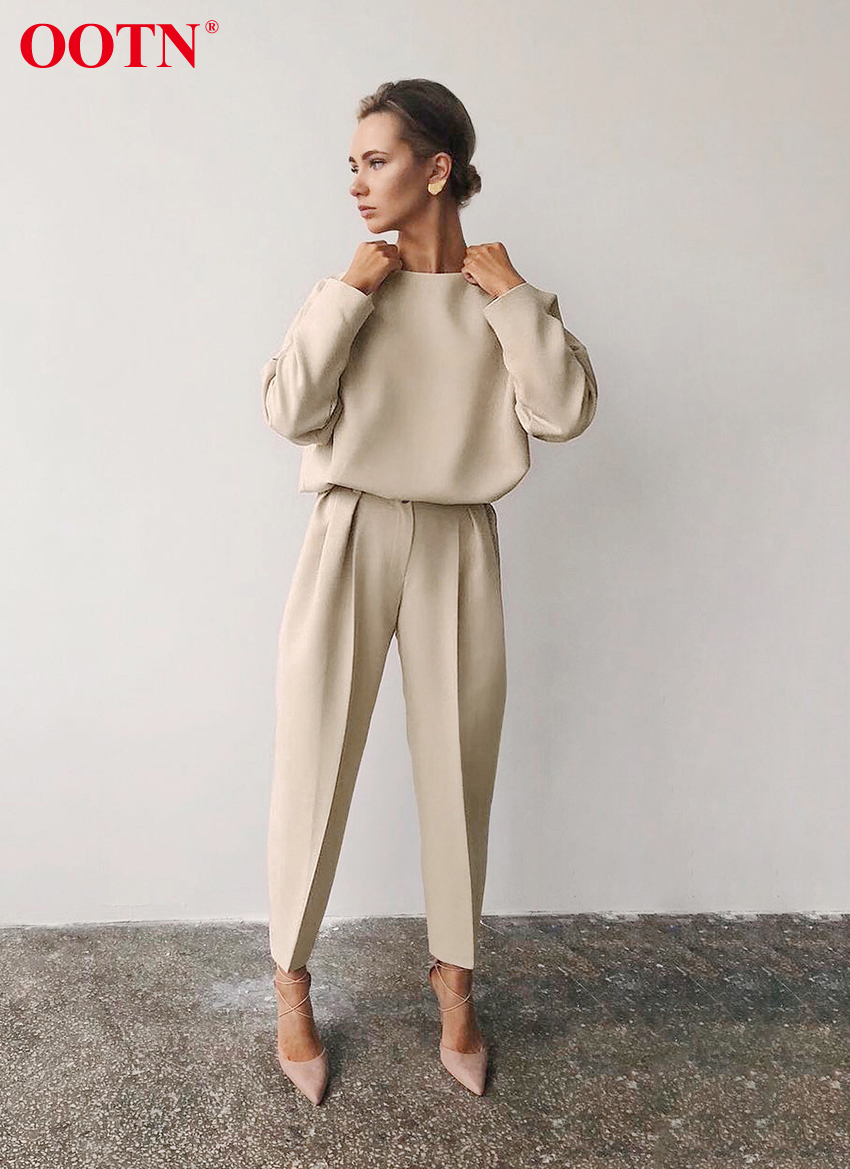 H214eba2551df4c04909f0393df68eca6e - OOTN Casual High Waist Khaki Pants Women Summer Spring Brown Ladies Office Trousers Zipper Pocket Solid Female Pencil Pants