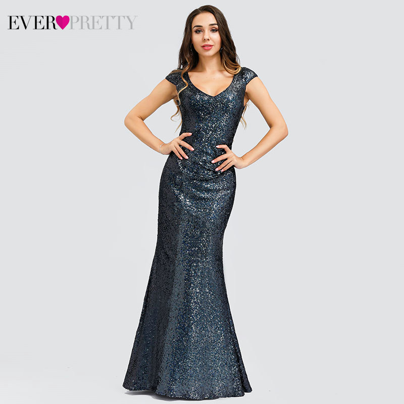 Sparkle Mermaid Prom Dresses Long Ever Pretty Sequined V-Neck Sleeveless Sexy Formal Evening Party Gowns Vestido Formatura 2020