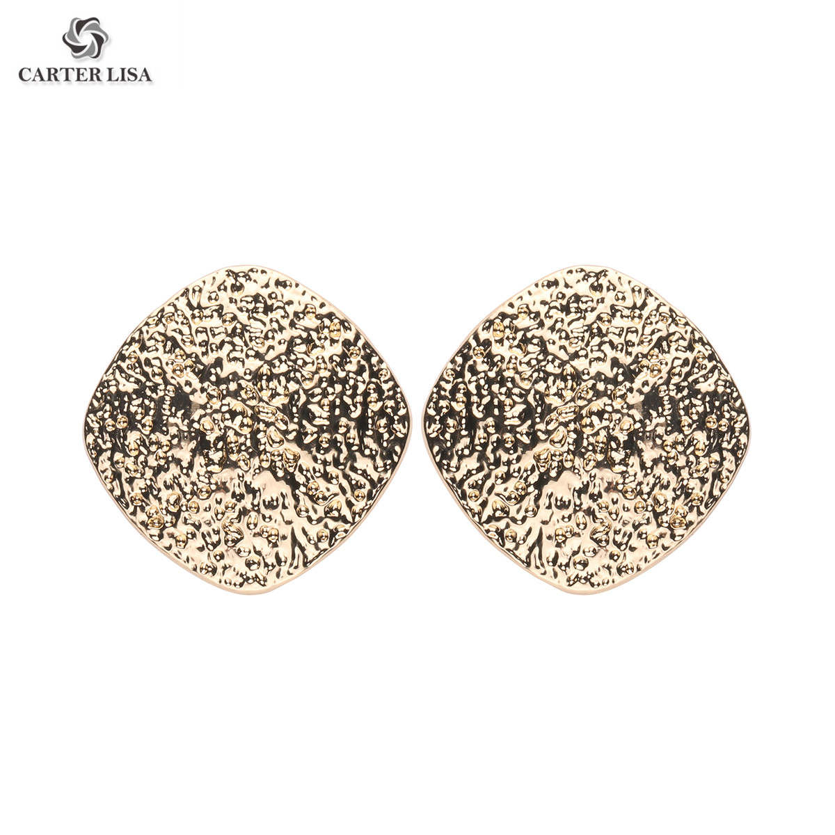 CARTER LISA Chic Metallic Earrings Jewelry Charm New Geometric Square Shiny Glitter Minimalist Earring Women Sales