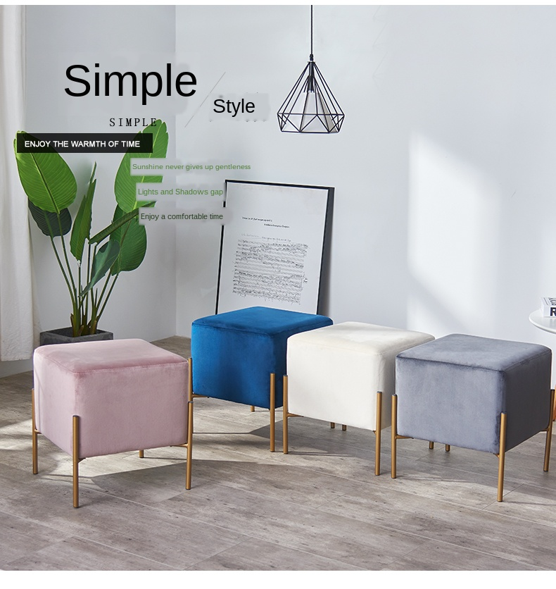 21 Modern Minimalist Shoe Bench Sofa Small Square Stool Personality Footstool Living Room Fabric Stool Aliexpress