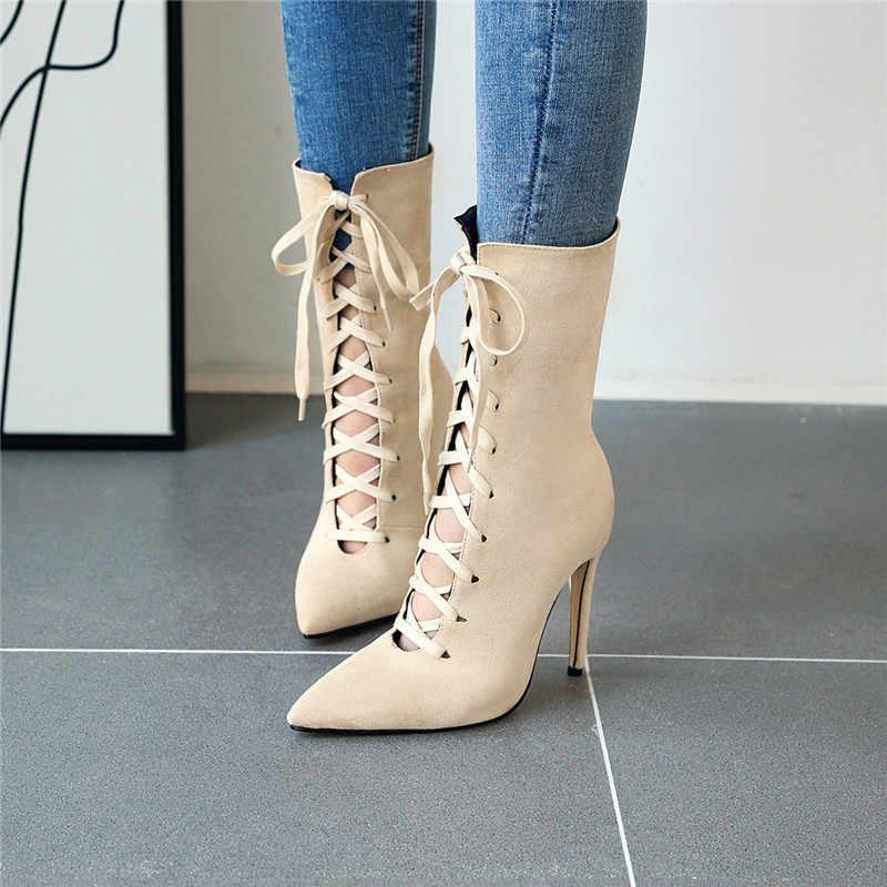 ASUMER 2020 orta buzağı çizmeler kadın sivri burun lace up bayanlar balo çizmeler zarif ince yüksek topuklu sonbahar kış çizmeler artı boyutu