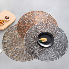 4/6pcs PVC Hollow Round Placemat Waterproof Non Slip Dining Table Mats Heat Insulation Steak Plate Pad Coffee Coaster Kitchen