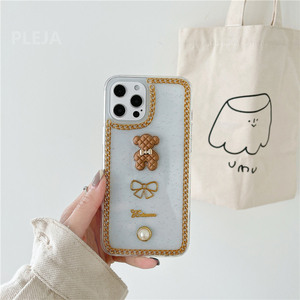 Image 3 - Luxury Glitter Pearl Case For iphone 12 mini 11 Pro Max X XR XS Max SE 2020 7 8 plus Clear Cover Cute 3d Bear Phone Cases Capa