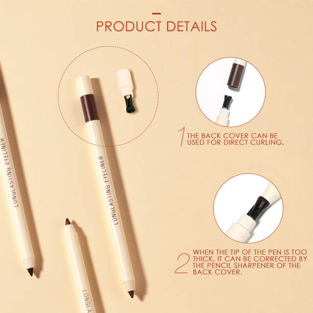 FOCALLURE Long-lasting Gel Eyeliner Pencil Waterproof Easy To Wear Black Liner Pen Eye Makeup 2
