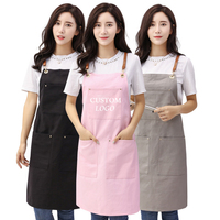 Solid Color Canvas Hanging Neck Apron Unisex Kitchen Pinafore Hotel Restaurant Cafe Barber Shop Bakery Shop Waiter Work Uniform
