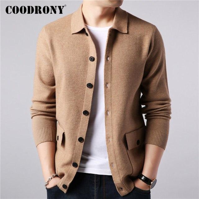 COODRONY Marke Pullover Männer Streetwear Fashion Pullover Mantel Männer Herbst Winter Warme Kaschmir Woolen Strickjacke Männer Mit Tasche 91104