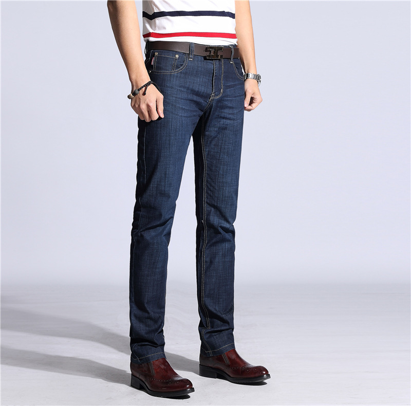 Elasticity Jeans Men's Straight-Cut Business Casual Jeans Middle-aged Loose-Fit High-waisted MEN'S Wear Long Pants 769