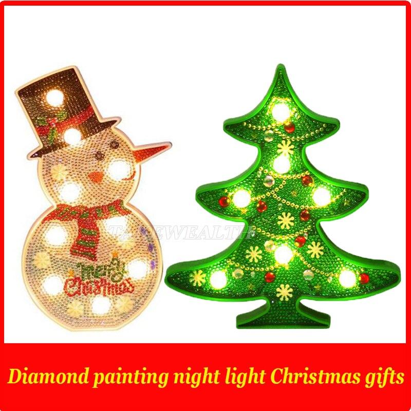 2019 New DIY LED Diamond Painting Night Light Christmas Tree Snowman Cross Stitch Embroidery Special Shape Wedding Decoration