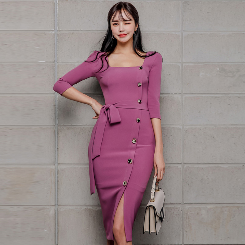 Woman Pencil Dress For Office Bodycon  Vestidos Mid-length Dress Trend 2020 Square Collar Three Quarters Sleeve