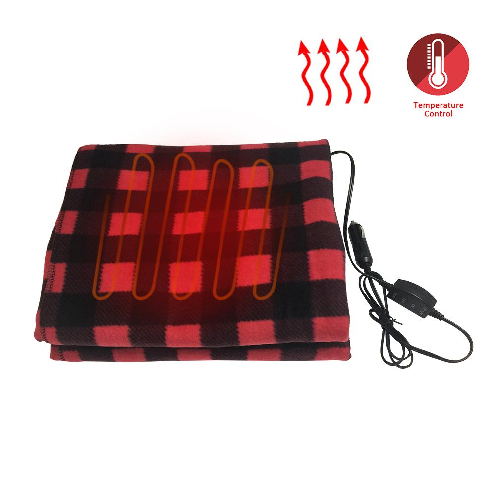 145x100cm Red Black Lattice Energy Saving Warm 12V W Car Heating Blanket Winter Car Electric Blanket For Car RV Motorhome