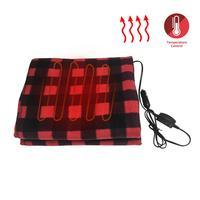 145x100cm vermelho preto treliça economia de energia quente 12 v w cobertura de aquecimento do carro cobertor de inverno carro elétrico para carro rv motorhome|Cama de viagem p/ carro| |  -