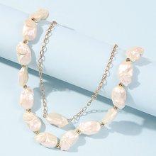 Двухслойное жемчужное ожерелье для женщин в стиле барокко 2020