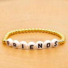GO2BOHO Gold Bracelets Bracelet Women FRIENDS Letter Jewelry Trendy Pulseras Japan Import Beads Handmade Wristband Friendship kpop ss501 kim hyun joong silicon bracelets luminous bracelet wristband pulseras 19278