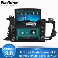 Funrover IPS 9.7 Tesla screen For Kia Optima 3 TF K5 2011 2015 android9.0 Car Radio Multimedia Player GPS Navigation dsp FM dvd