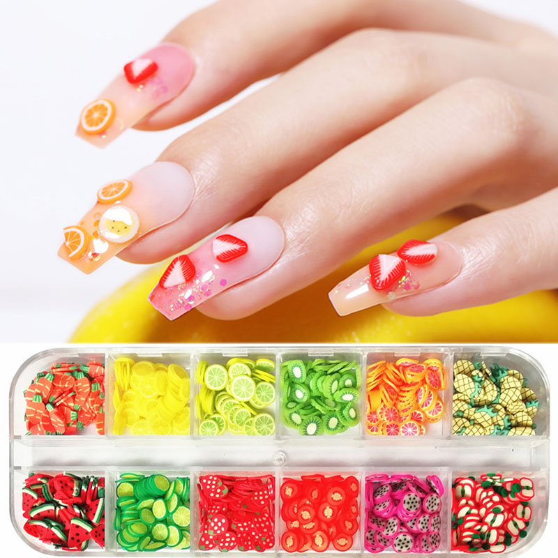 1 Box 3D Nail Art Decorations Summer Fruit Flower DIY Tips Watermelon Strawberry Design Nail Flakes Tiny Slices Accessories