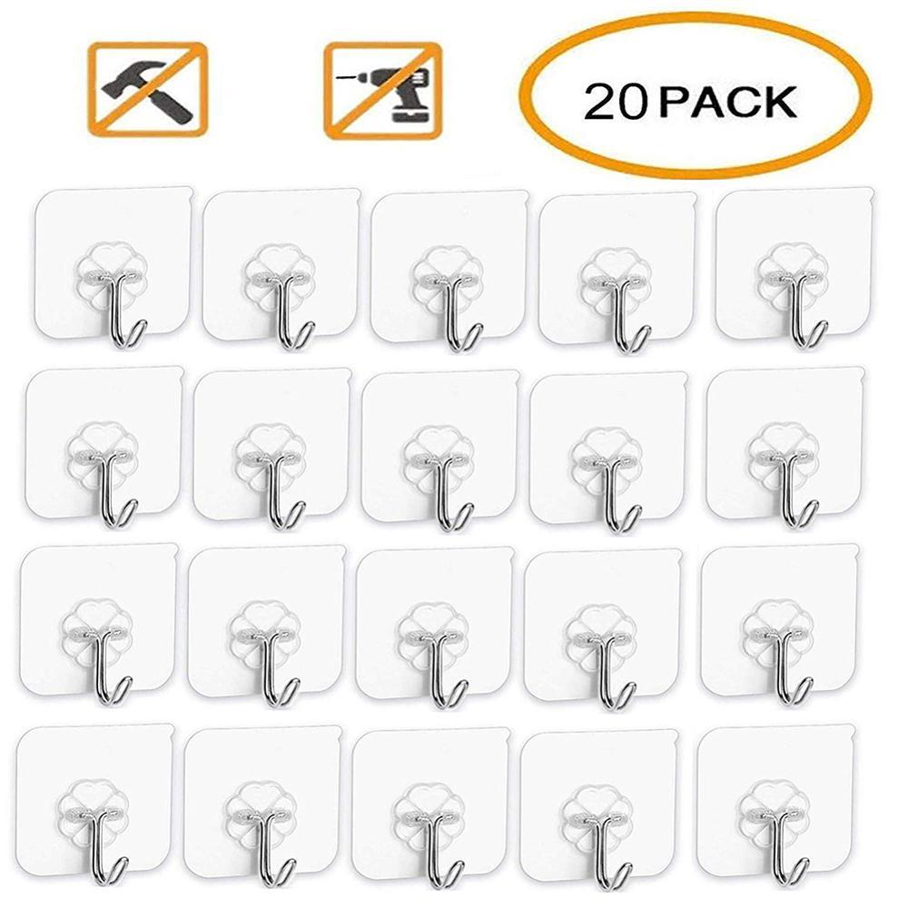 20Pcs/Set Transparent Seamless Self Adhesive Hook Load Bearing 10KG Waterproof Strong Stick Hook Bathroom Kitchen Wall Hanger