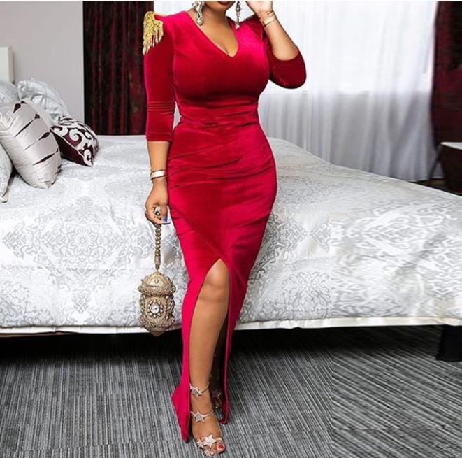 Velvet sexy split dress retro elegant red with epaulettes high waist elastic winter fall office women zip