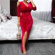 Velvet sexy split dress retro elegant red with epaulettes high waist elastic winter fall office women zip