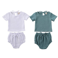 2020 Summer Newborn Toddler Baby Boys Girls Clothes Set Cotton&Linen T-shirts +Shorts Short Sleeve Solid 2pcs Outfits(China)